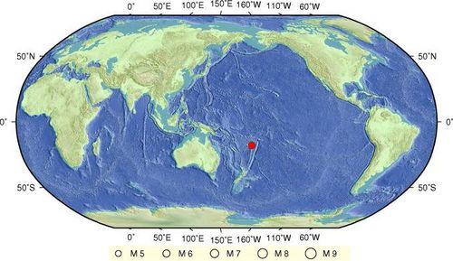 斐济群岛地区发生6.0级地震 震源深度530公里